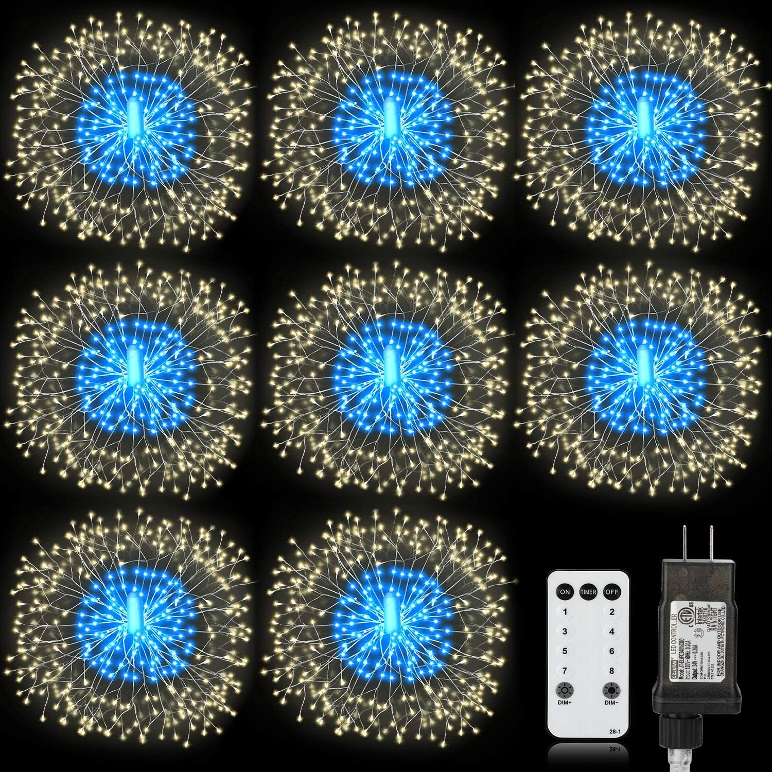 Homesprit Firework Lights 8 Pack 180 Led Copper Wire Starburst Lights with 8 Models, Power Supply Fairy Lights with Remote Control, Waterproof Outdoor Hanging Lights for Decor Garden Party Christmas