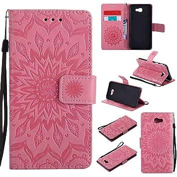 Guran® Funda de Cuero Para Samsung Galaxy J5 Prime Smartphone Función de Soporte con Ranura para Tarjetas Flip Case Cover-rosa