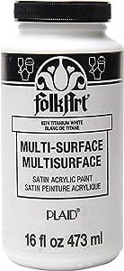 FolkArt 6374 Multi-Surface Satin Acrylic Paint in Assorted Colors, 16 oz, Titanium White 16 Fl Oz