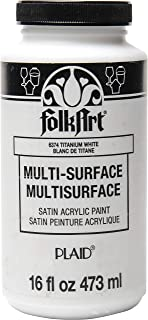 product image for FolkArt Multi-Surface Satin Acrylic Paint in Assorted Colors, 16 oz, Titanium White 16 Fl Oz