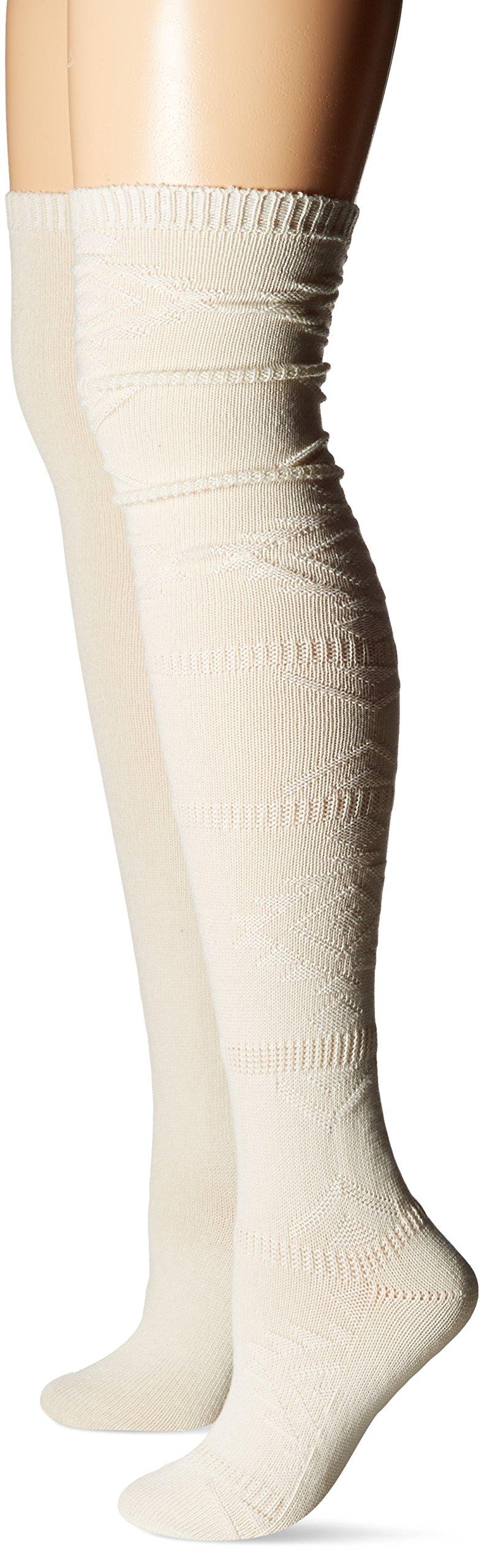 Steve Madden Women's Aztec Over The Knee Sock 2-Pack, Off White, 9-11