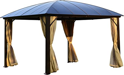 ALEKO GZBHR02 Aluminum Hardtop Gazebo Canopy with Removable Curtains and Netting Mesh Walls 10 x 12 x 9 Feet Brown