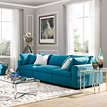 Modway Commix Down Filled Overstuffed 3 Piece Sectional Sofa Set, Armless  Chair/Two Corner Chairs, Teal