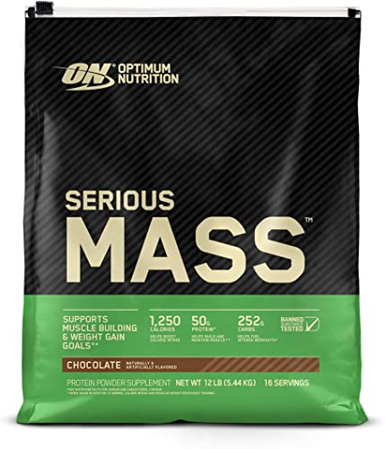 Optimum Nutrition Serious Mass Weight Gainer Protein Powder, Vitamin C, Zinc and Vitamin D for Immune Support, Chocolate, 12 Pound Packaging May Vary