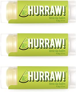 product image for Hurraw! Lime Lip Balm, 3 Pack: Organic, Certified Vegan, Cruelty and Gluten Free. Non-GMO, 100% Natural Ingredients. Bee, Shea, Soy and Palm Free. Made in USA