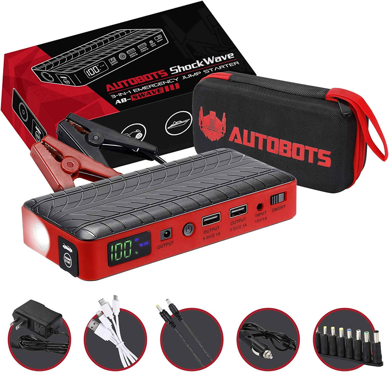 Autobots Shockwave Jump Starter | Best Portable Car Battery Booster with Smart Jumper Cables | 600 Peak Amp 18000 mAh 12 V Automotive Jump Box Power Pack & Mobile Super Charger Kit