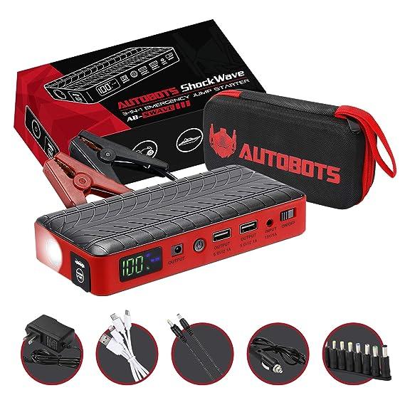 Autobots Shockwave Jump Starter Best Portable Car Battery Booster With Smart Jumper Cables 600 Peak Amp 18000 Mah 12 V Automotive Jump Box Power