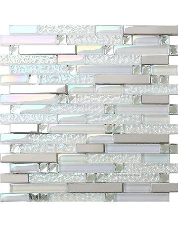 8cbe4999185 New Design TST Glass Metal Tile Iridescent White Glass Silver Mirror  Stainless Steel Blends Interlocking Strip