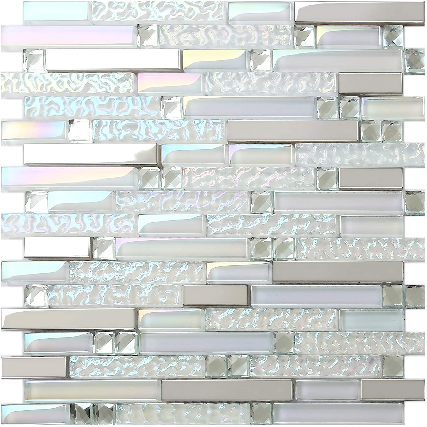 Super White Glass and Metal Strip Mosaic Tiles 3 x 12 SAMPLE