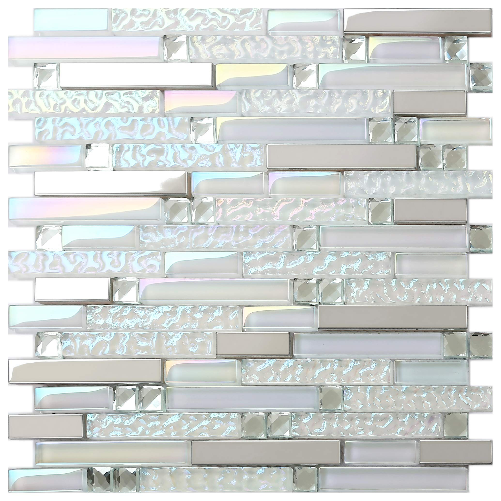 New Design TST Glass Metal Tile Iridescent White Glass Silver Mirror Stainless Steel Blends Interlocking Strip Wall Tiles TSTNB01 (10 Square Feet) by BLUJELLYFISH