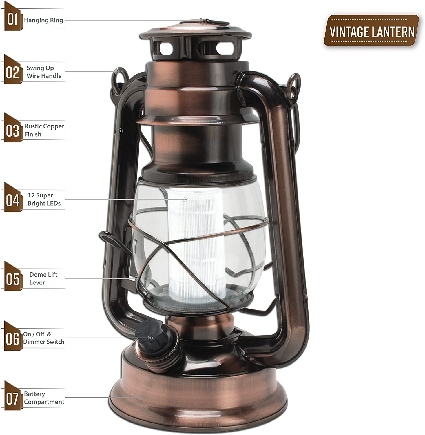 Blue Or Silver Olde Brooklyn Lantern LED Light Camping Antique Lamp TENT