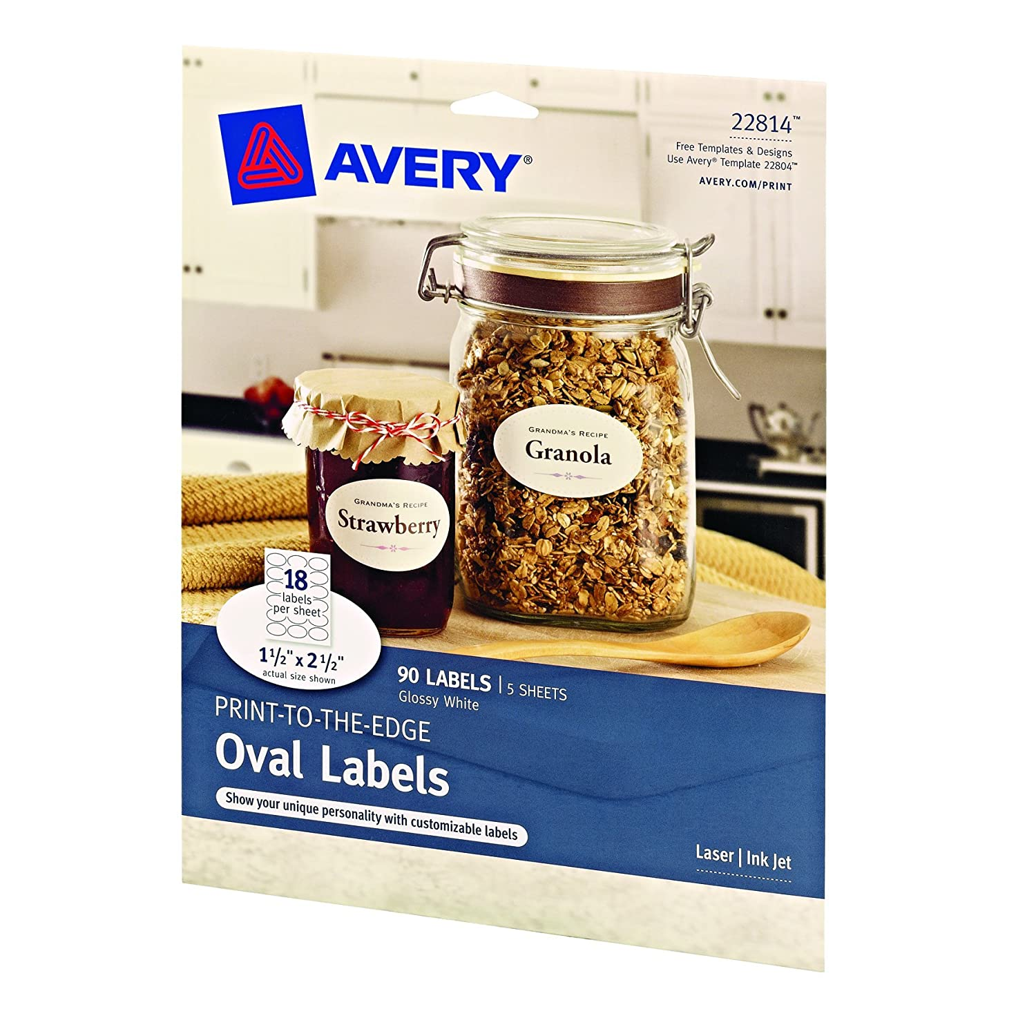 amazon com avery print to the edge oval labels glossy white 1 5
