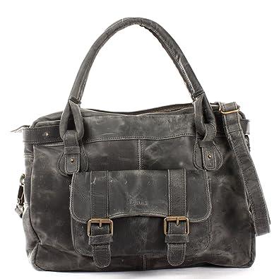 21a2afcd38598 LECONI Henkeltasche Echtleder Damentasche Vintage Look Schultertasche natur  Damen Ledertasche Frauen Handtasche Leder 38x29x11cm grau LE0050
