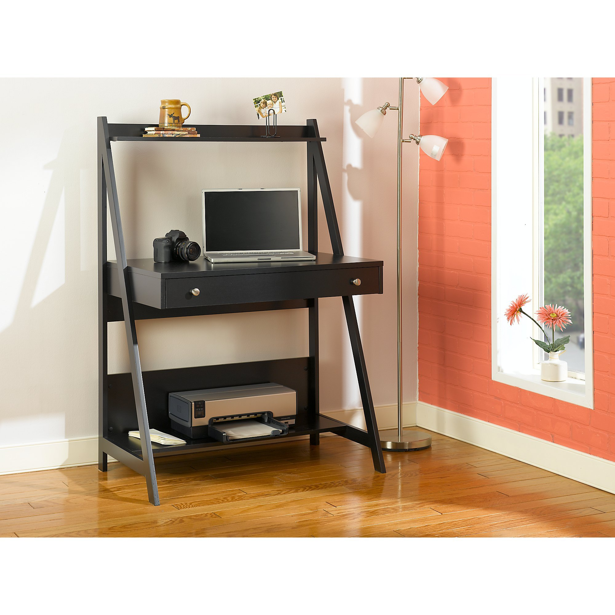 Bush Furniture Alamosa Ladder Desk in Classic Black by Bush Furniture