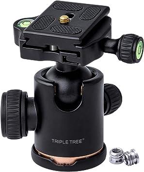 TRIPLE TREE 自由雲台 クイックシュー付き 360度回転可能 アルミ製 バブル水準器付き 最大負荷重量8kgまで (カメラ取付ネジ: 1/4
