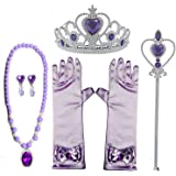 Princess Dress up Accessories 5 Pieces Gift Purple Set for Sofia Crown Scepter wand Necklace Earrings Gloves