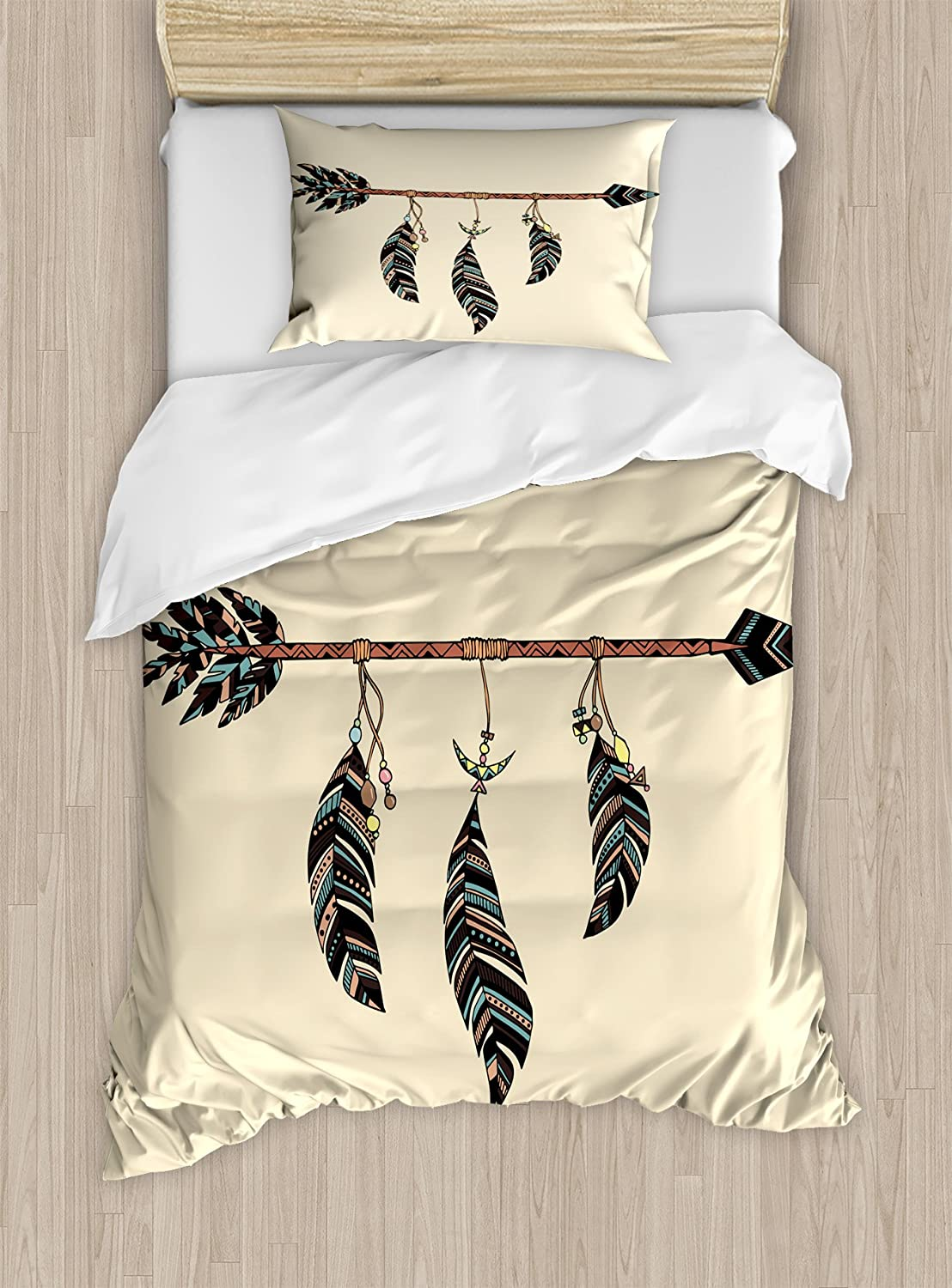 Arrow Decor Duvet Cover Set by Ambesonne, Arrow in Ethnical Pattern With Feathers Decorative Native Tribal Print, 2 Piece Bedding Set with 1 Pillow Sham, Twin / Twin XL Size