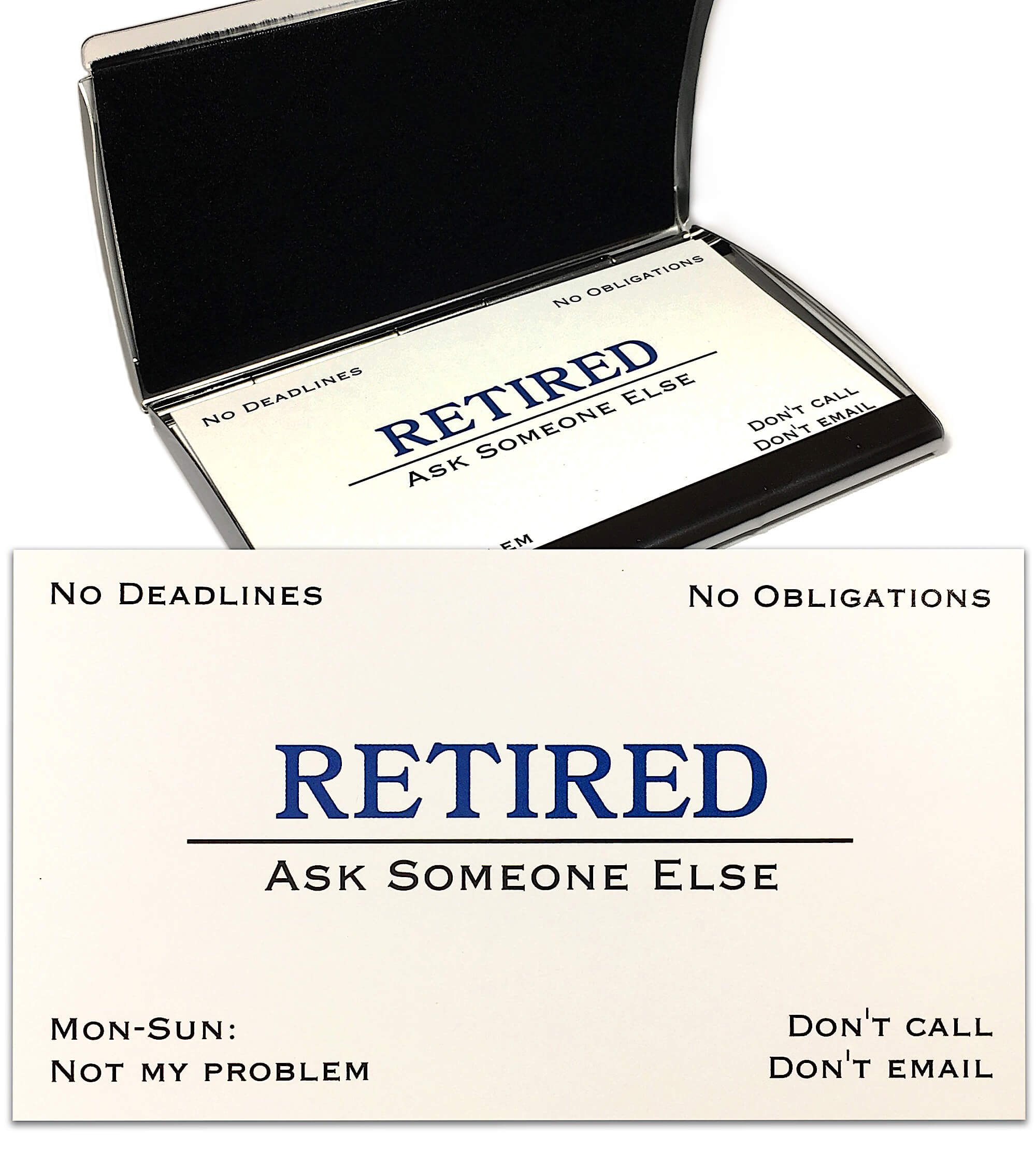 Thingamagift Out of Business Cards - Funny Retirement Gift - Cards With Stainless Steel Case For Retired Men, Women, Coworkers, Employees, Boss, Friend, Colleague