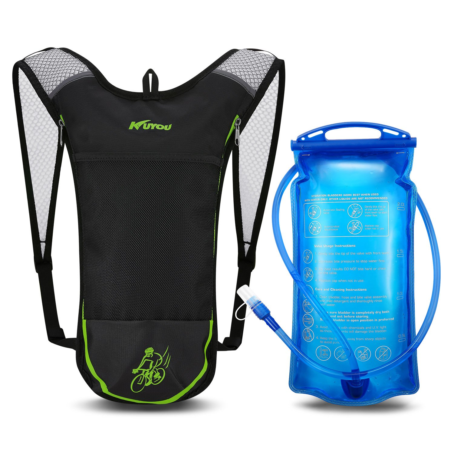 KUYOU Hydration Pack,Hydration Backpack 2L Hydration Bladder Running, Hiking, Cycling, Camping