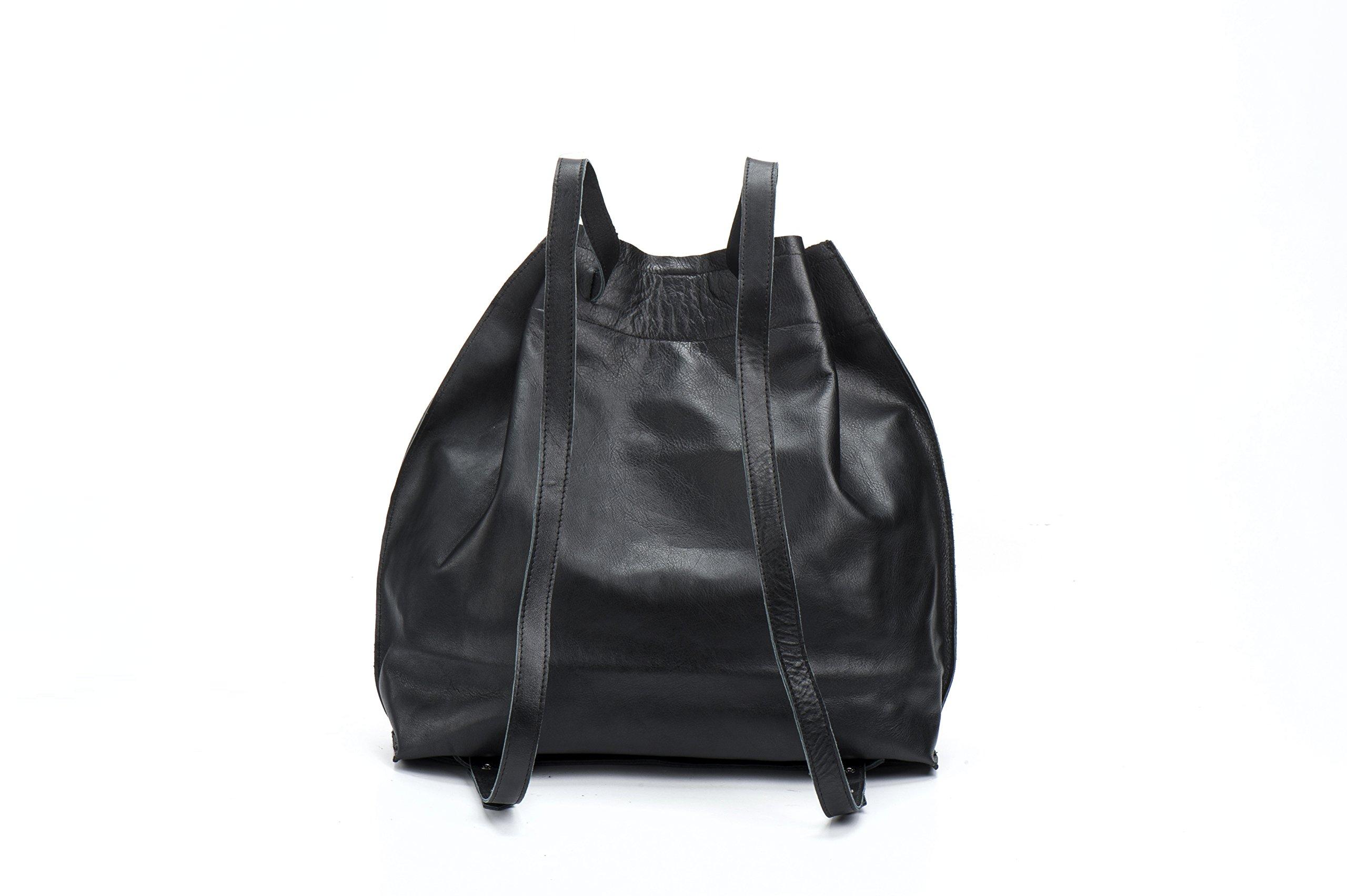 Handmade Artisan Casual Everyday Small Fashionable Genuine Black Leather DayPack Rucksack