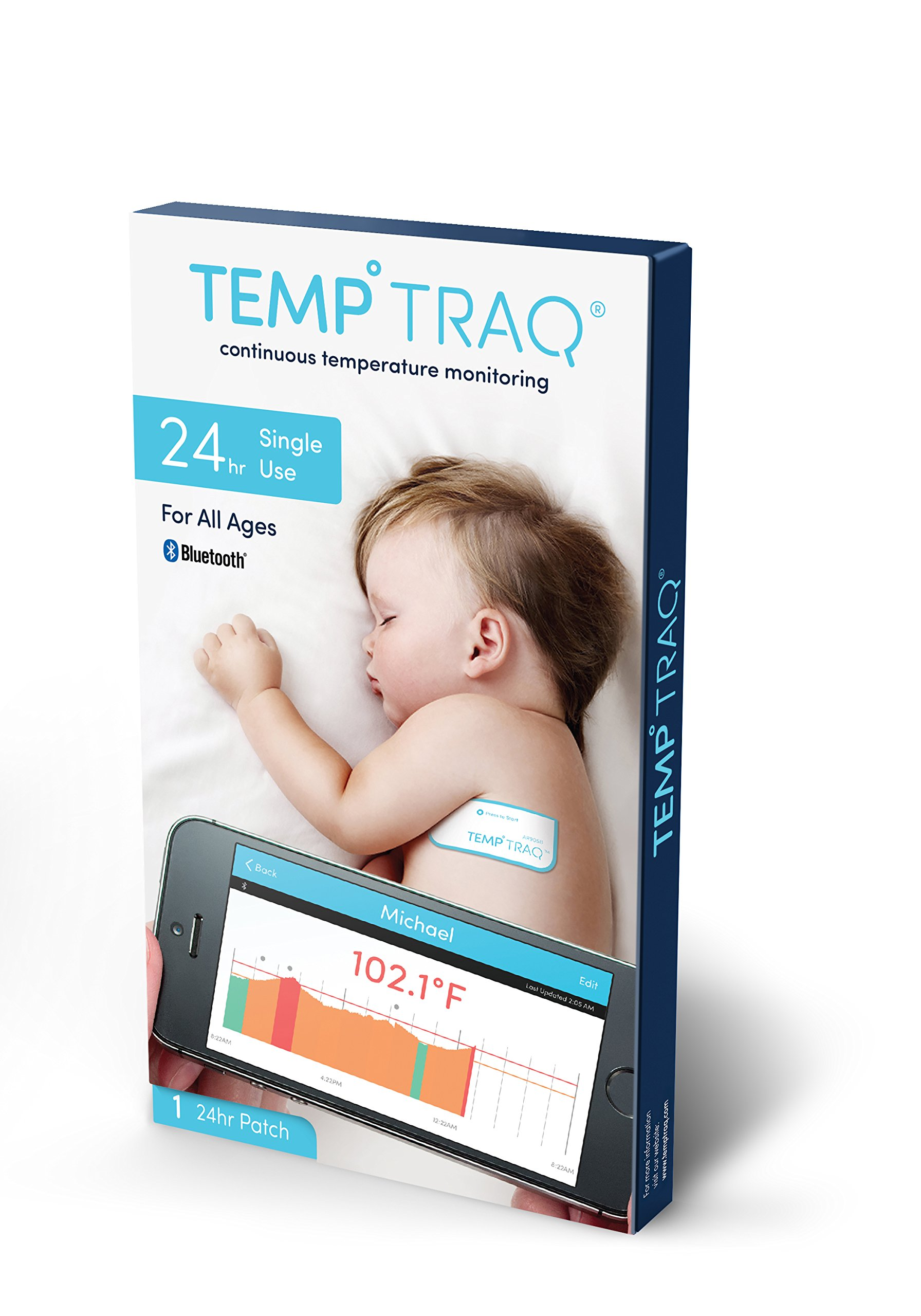 TempTraq 24HR Intelligent Fever Monitoring | Wearable Smart Thermometer FDA-Cleared with Wireless iOS + Android Mobile Alerts