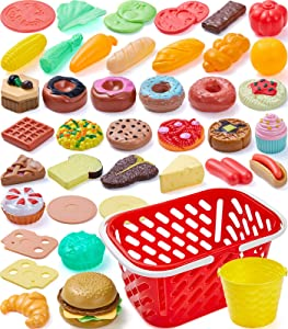 Geyiie Prentend Play Food Dessert, 54 Pieces Picnic Set for Kids with Cake Pastries Hamburger and 2 Baskets, Educational Kitchen Toys for Girls Boys Toddlers Birthday Gift