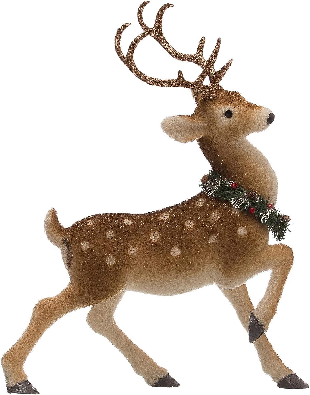 """Creative Co-op 23.5"""" Standing Wreath Figurine Deer, Brown"""