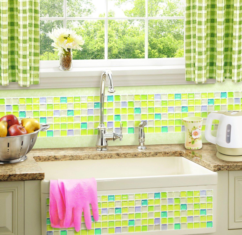 【 Dream Sticker 】モザイクタイルシール キッチン 洗面所 トイレの模様替えに最適のDIY 壁紙デコレーション ALT-5 フレッシュグリーン Fresh green 【 自作アートインテリア / ウォールステッカー 】 貼り方説明書付属 (1枚) B01FUL529C 1枚 1枚