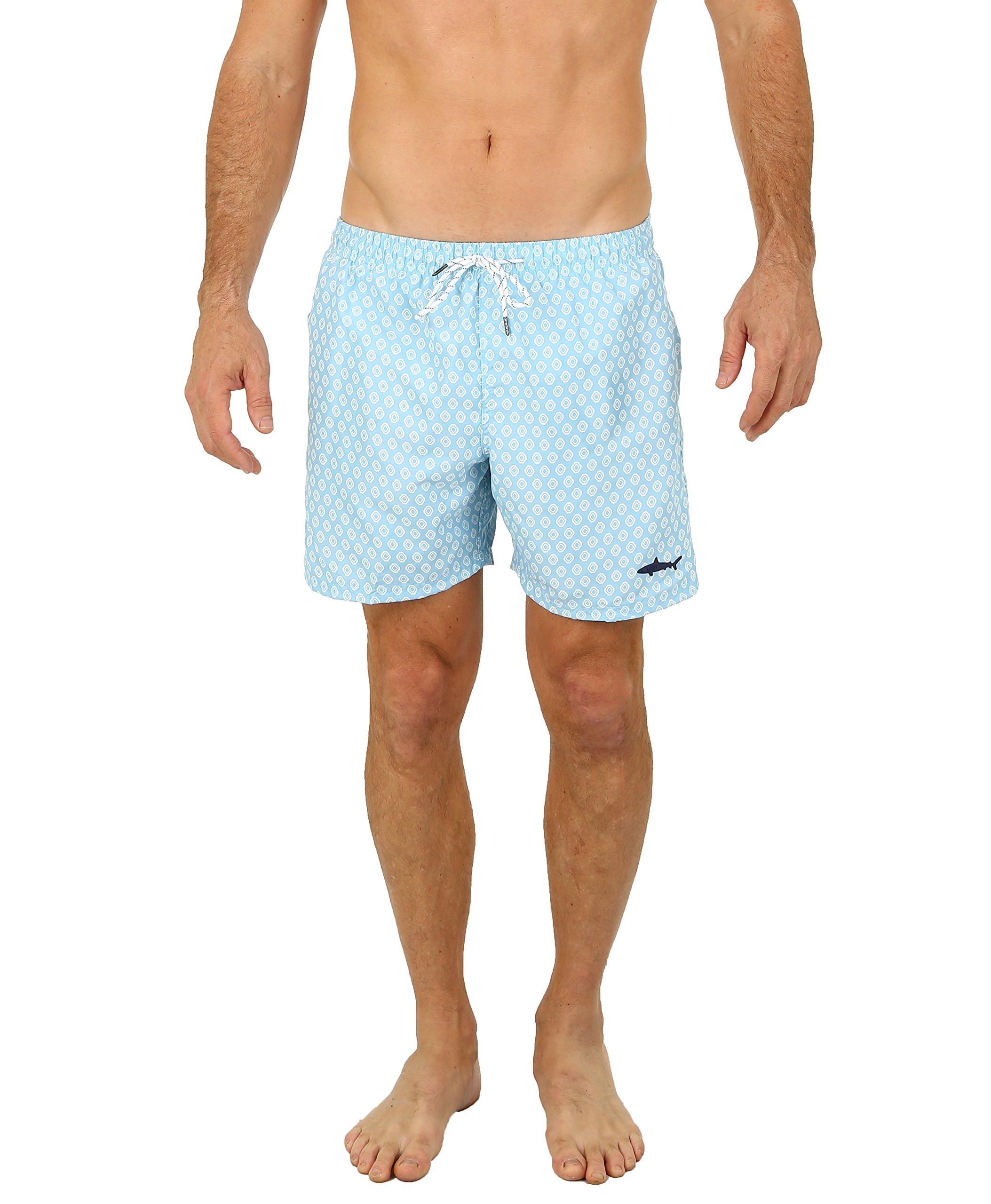 UZZI Men's Malibu Swim Trunks Aqua M