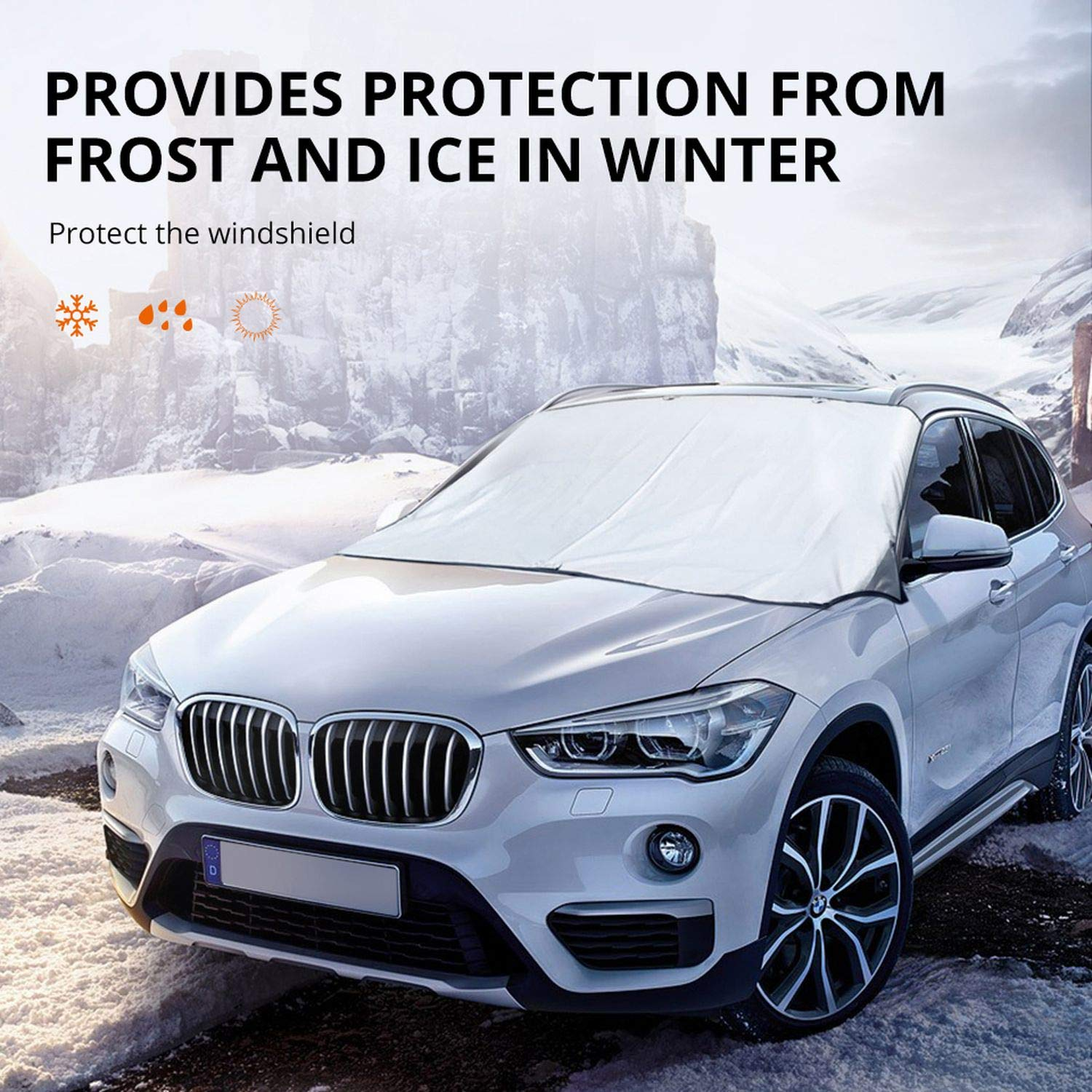 Patrol Winter Universal Protective Auto Anti Snow Ice Shield Car Covers Sun Shade Cover Windshield Car Front Window Screen Cover,190 X 120 cm