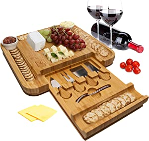 Wolfe & Brauner Bamboo Charcuterie Board Set - Cheese Board Platter and Serving Tray with Stainless Steel Cutlery in Slide Out Drawer along with 2 Ceramic Cups for Spreads