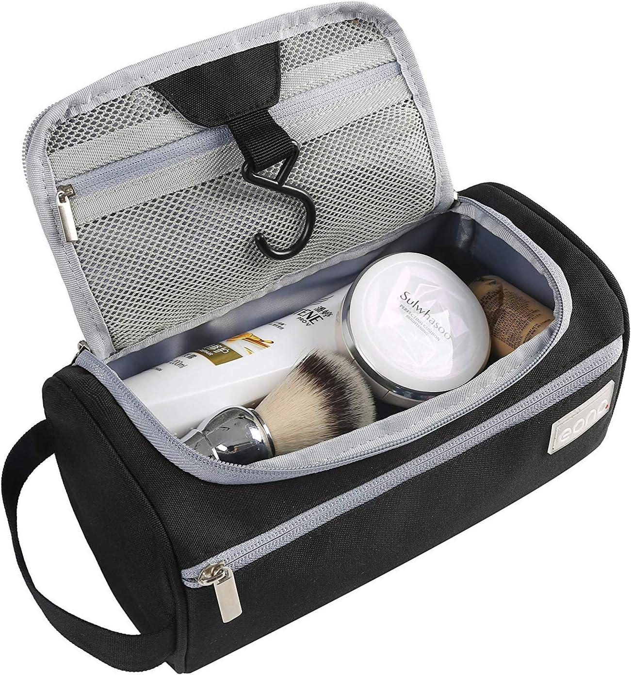 Eono by Amazon - Bolsas de Aseo Neceser Avion Unisexo Neceseres de Viaje Toiletry Bag Neceser Maquillaje con Gancho para Colgar Bolsa de Cosmético Impermeable Organizador de Viaje, Negro