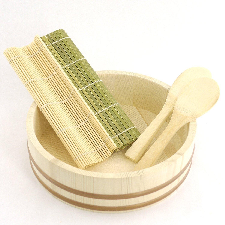 BambooMN 13.0'' Sushi Oke Tub Hangiri with 5 Pieces Sushi Making Serving Accessory Kit