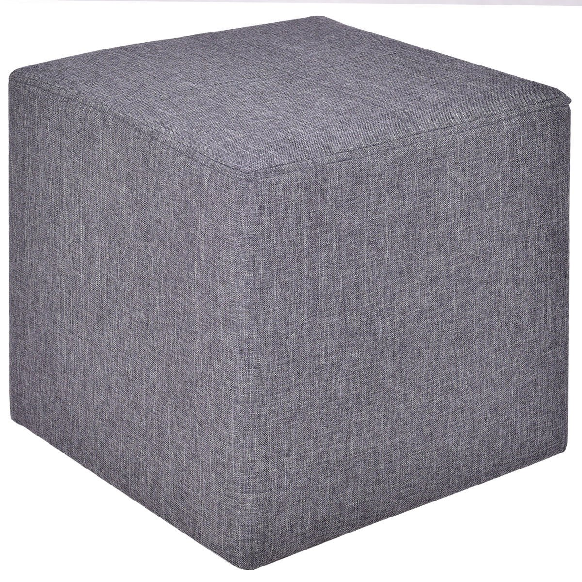 Square Ottoman Box Foot Stool Seat Footrest Wood Frame Linen Gray