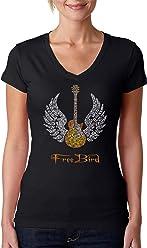 2472b30af4bfb4 LA POP ART Women s Word Art V-Neck T-shirt - Lyrics To Freebird