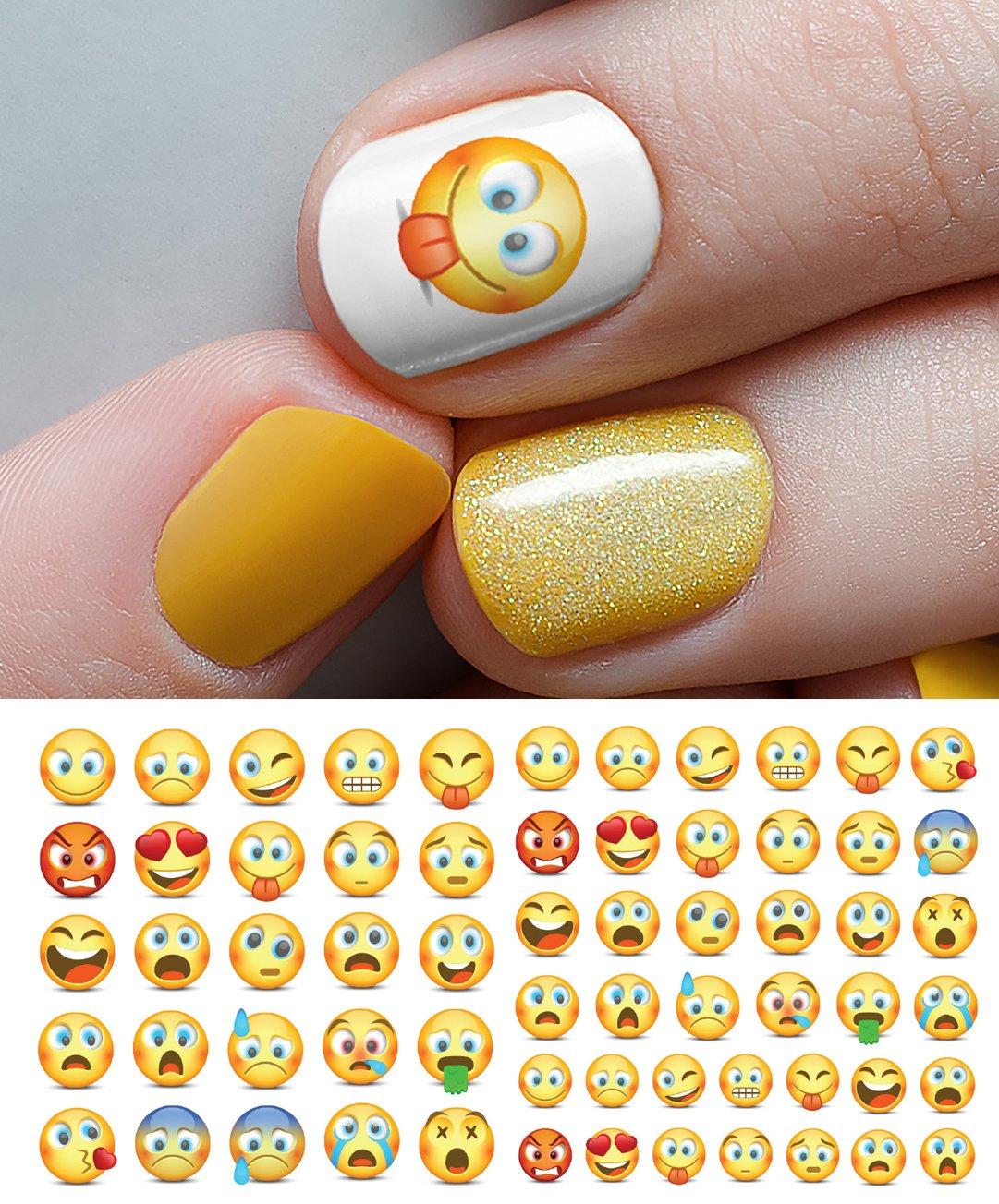 Nail Art Kuning: 100+ Gambar Emoji Nail Art Gratis