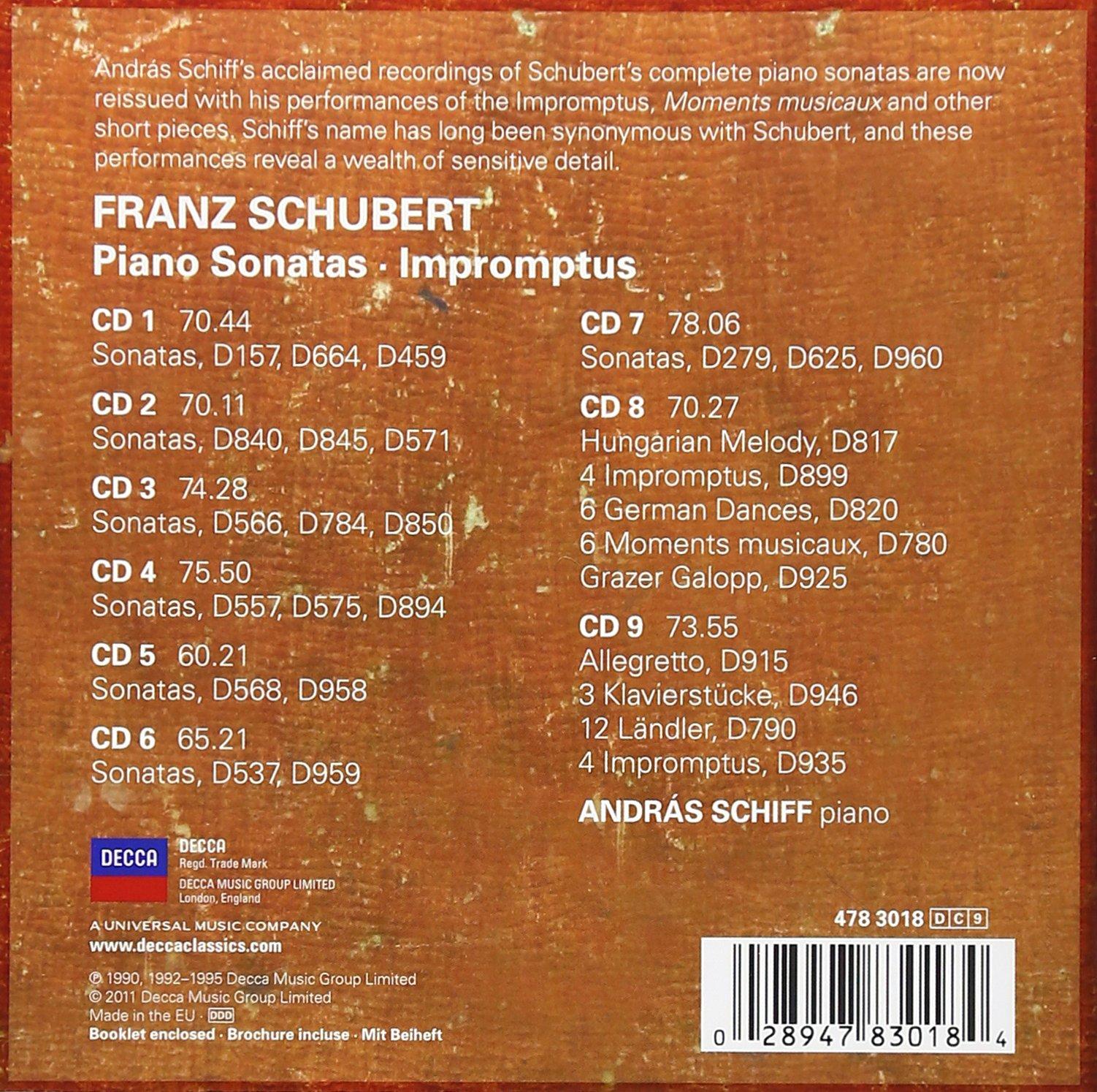 Schubert: Piano Sonatas/Impromptus [9 CD Box Set] by DECCA,COLLECTORS EDITION,BOX CLASSICA,CLASSICO,MUSICA DA CAMERA,SOLO,