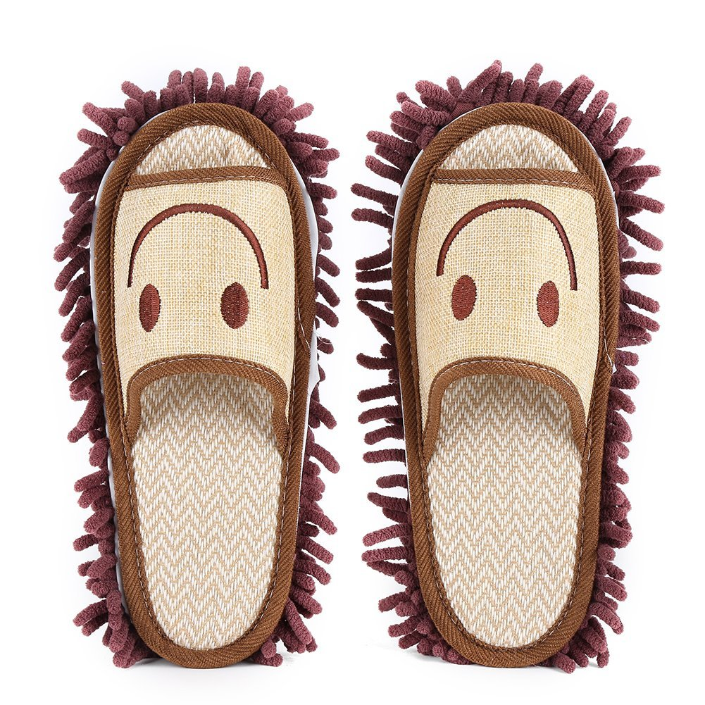 Microfiber Mop Slippers Washable Mop Cleaning Dusters House Slippers Shoes Cover for Bathroom Office Kitchen(Coffee)