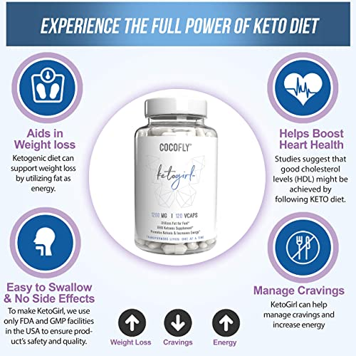 COCOFLY Ultra Fast Keto Boost – 1200 mg KetoGirl Burn Pills for Women, Utilize Fat for Energy, Super Rapid Ketosis, Enhanced Pure BHB Salts, 6X Advanced Weight Loss Supplement, Slim Exogenous Ketones