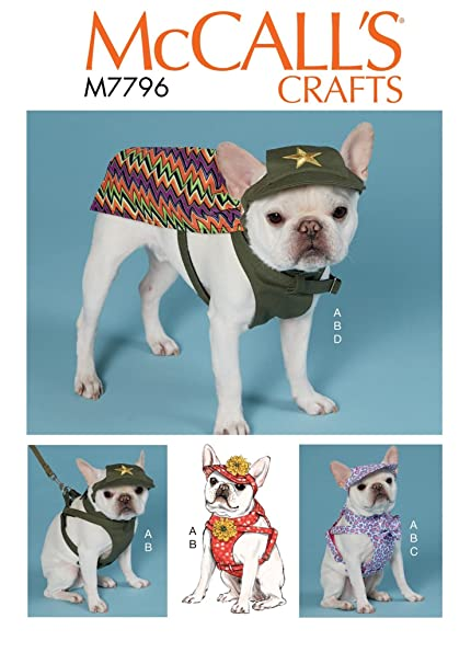 Amazon.com: McCall\'s Patterns M7796 Dog Hats, Harness and Cape ...