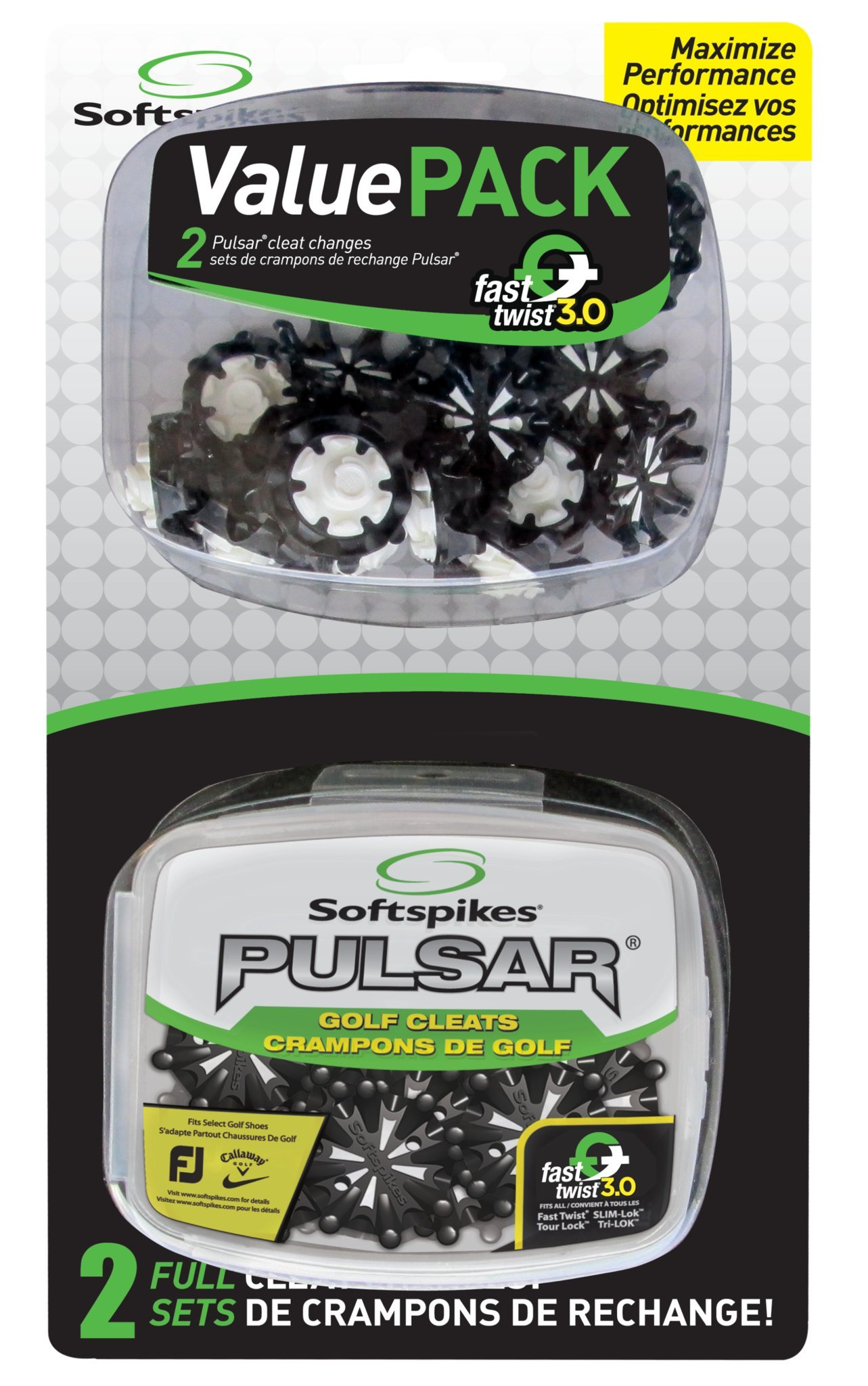Softspikes Pulsar Golf Cleats Fast Twist 3.0 Value Pack by SOFTSPIKES