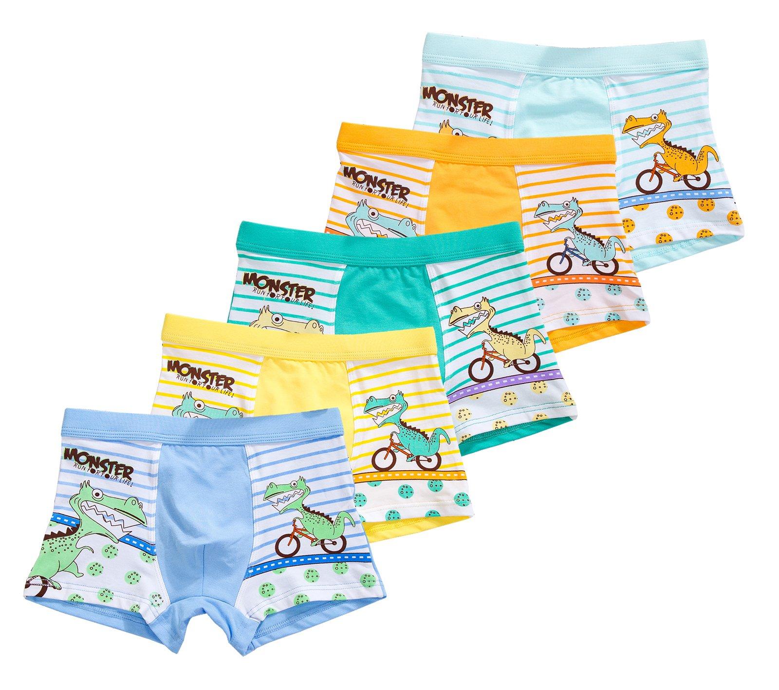CHUNG Little Big Boys Soft Modal+ Cotton Boxer Briefs Underwear 5 Pack, Dinosaur, 3T