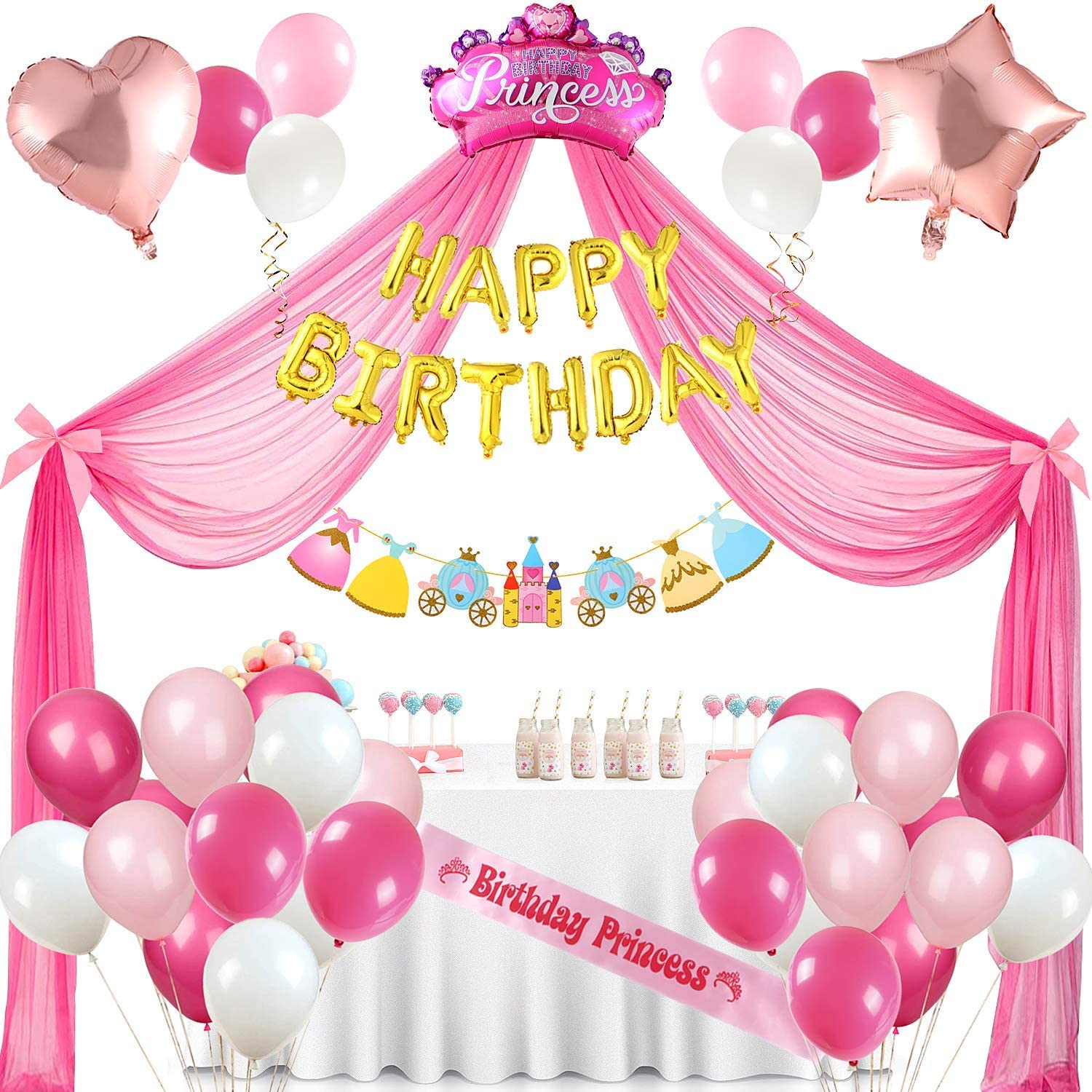Golray Princess Party Supplies Birthday Decorations for Girls with 33 Balloons, Princess Tulle Backdrop with Bowknot, Gold Happy Birthday Foil Balloons, Princess Flower Banner, Birthday Princess Sash, Ribbon, Star Heart Crown Foil Balloon for Pink and Gold Party Supplies Girls Princess Party Decorations