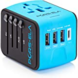 International Travel Power Adapter with 3.4A 3 USB + Type C Charger & Worldwide AC Wall Outlet Plugs for UK, US, AU, Europe & Asia - Safety Fused, Gift Pouch - Blue