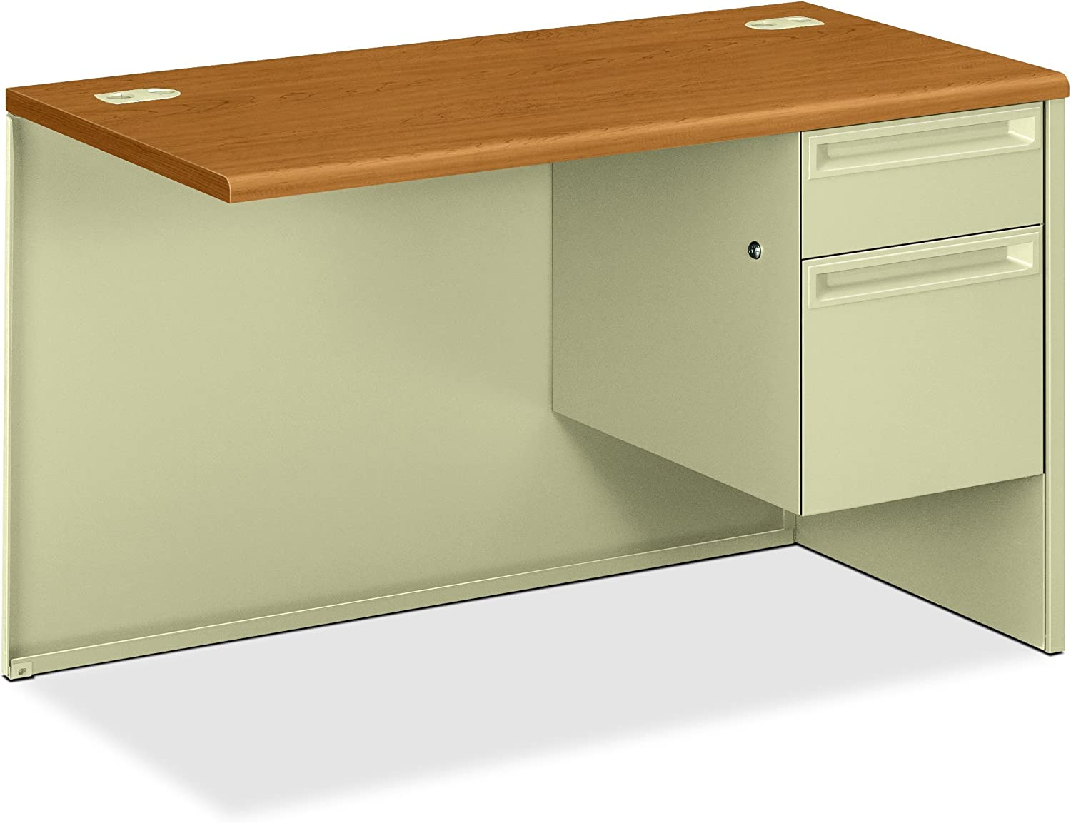 Hon Right Pedestal Return Desk With Lock 48 By 24 By 29 1 2 Inch Harvest Putty Furniture Decor