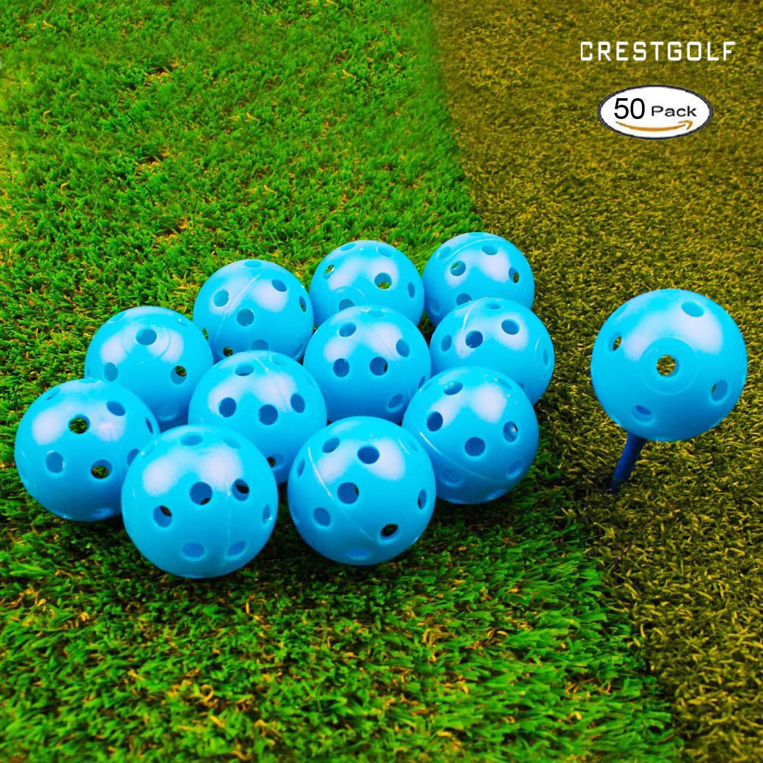 Crestgolf 12/50 Pack Plastic Golf Training Balls - Airflow Hollow 40mm Golf Balls for Driving Range, Swing Practice, Home Use,Pet Play.(Blue,50pack) by Crestgolf
