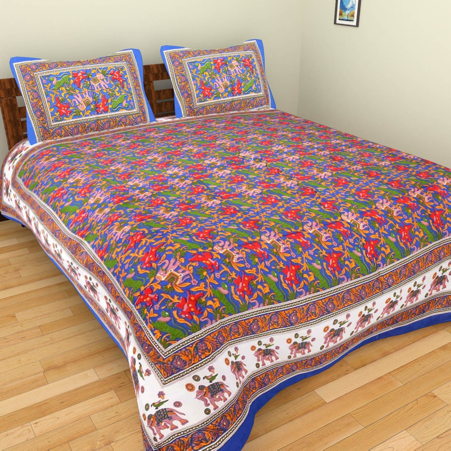 Double Bed Sheet Rajasthani Print Double Bed Sheets Hand Screen Flower  Block Printing 100% Cotton