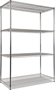 Alera ALESW504824SR Industrial Heavy-Duty Wire Shelving Starter Kit, 4-Shelf, 48w x 24d x 72h, Silver