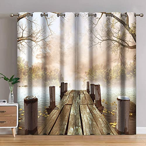 Jekeno Window Curtain Blackout Jetty Foggy Forest Printed Grommet Window Drapes for Bedroom Living Room 52 x84 , 2 Panel Set