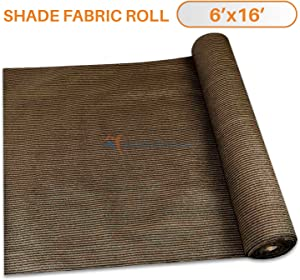 TANG Sunshades Depot 6'x15' Shade Cloth Brown Fabric Roll Up to 95% Blockage UV Resistant Mesh Net for Outdoor Backyard Garden Plant Barn Greenhouse Weddings Placemat Crafts Decorate Swing